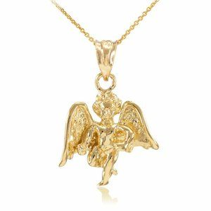 Solid Gold Guardian Angel Pendant Necklace Protect